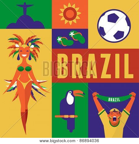 Brazil. Poster and background with collection of icons and illustrations