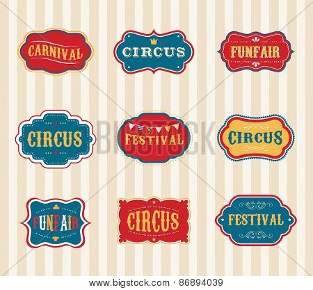 Vintage Hipster Circus labels set