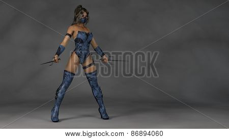 female ninja warrior in blue leather suit with sai blades