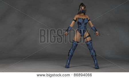 ninja warrior in blue leather suit with sai blades