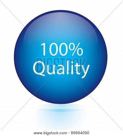 100 percent quality blue circular button