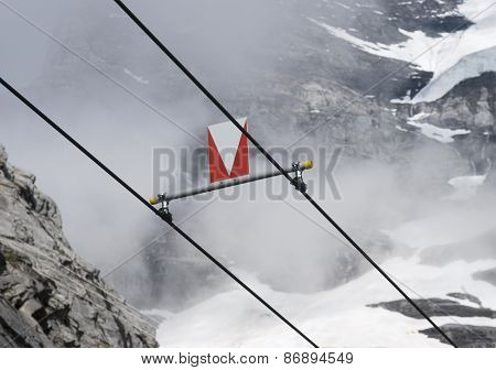 train power lines in mountain location