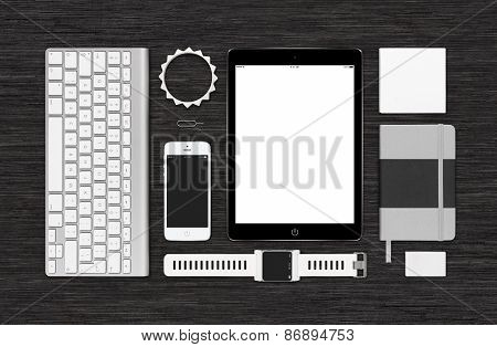 Top View Of Branding Identity Technology Mockup On Black Desk Surface