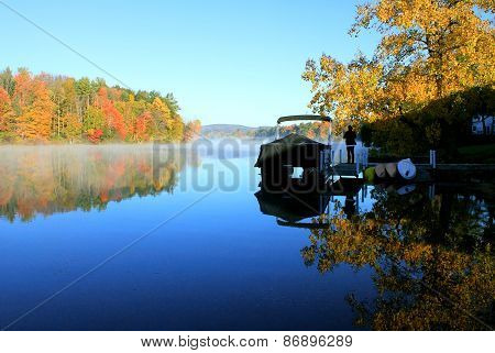 Berkshire Fall Foliage Reflected On Water
