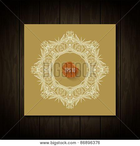White circle frame. Vector art. Ornamental round border.