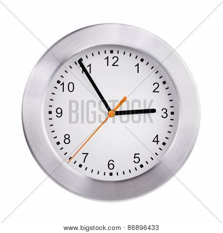 Large Clock Shows Five Minutes To Three