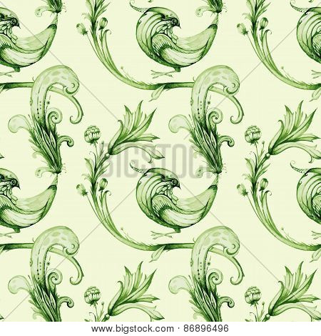 Summer birds and flowers. Vector repeat background design. Green
