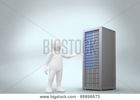 White character orating against digitally generated server tower