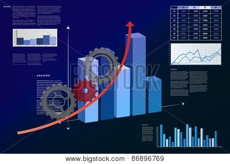 Cogs and wheels against business interface with graphs and data