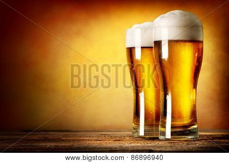 Two glasses of lager