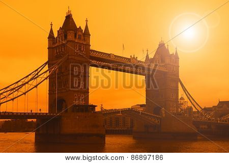 Tower Bridge in London, sunset