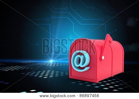Red email post box against circuit board on futuristic background with glow