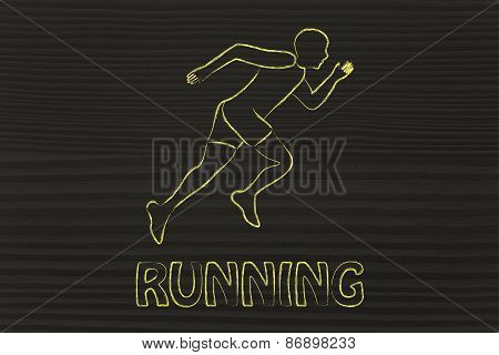 Illustration With A Runner Or Jogger Man Making A Sprint