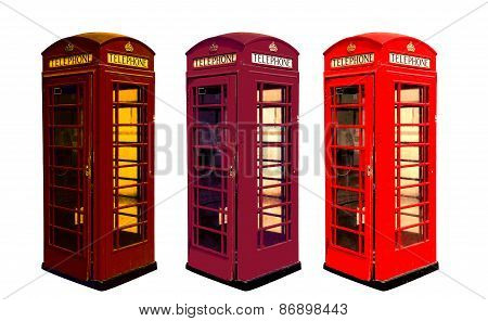 Classic British color phone booths in London UK, isolated on white