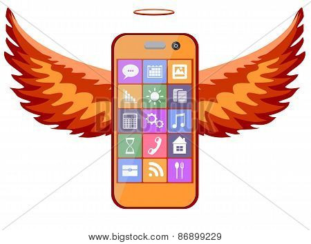 Mobile phone with wings, vector illustration