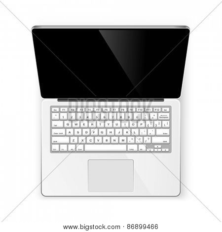 Open notebook isolated on white background. Vector
