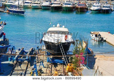 Shipyards. Trani. Puglia. Italy.