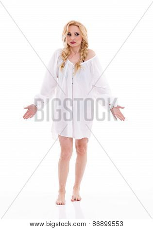 Barefoot woman in white long shirt