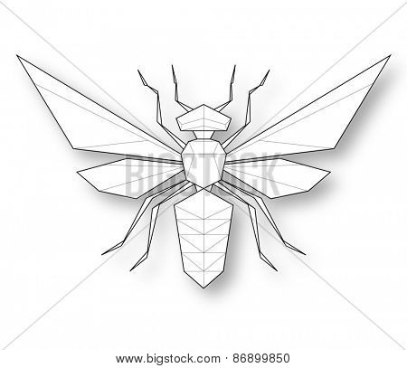 Wasp. Low polygon linear illustration
