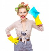 foto of cheer-up  - Funny young cheerful housewife with gloves holding rag  - JPG