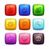 pic of squares  - Colorful square gem stones with nature elements symbol - JPG
