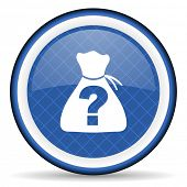 stock photo of riddles  - riddle blue icon   - JPG