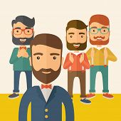stock photo of scribes  - Team of four happy hipster Caucasian business people with beard - JPG