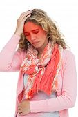 picture of belly ache  - Blonde girl having both headache and belly pain on white background - JPG