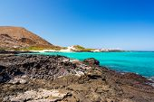 stock photo of pacific islands  - View of the Pacific Ocean from Santiago Island in the Galapagos Islands in Ecuador - JPG