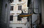 picture of swordfish  - swordfish fish signboard sign shop city street yellow - JPG