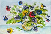 stock photo of vase flowers  - The vase with the flowers drawn by oil on a canvas - JPG