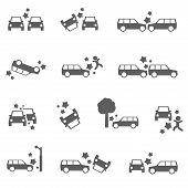 stock photo of rear-end  - Car crash icons auto SUV accident bold set - JPG