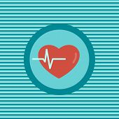 stock photo of heartbeat  - Heartbeat color flat icon vector graphic illustration - JPG