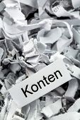 image of accountability  - shredded paper tagged accounts - JPG
