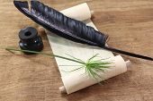 picture of inkwells  - Papyrus scroll with Papyrus plant quill and inkwell  - JPG