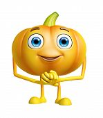 picture of promises  - 3d illustration of pumpkin character with promise pose - JPG