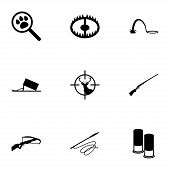 stock photo of duck-hunting  - Vector black hunting icons set on white background - JPG