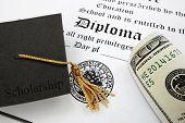 image of tassels  - graduation cap with Scholarship text and money on a high school diploma - JPG