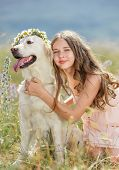 image of labradors  - Cute brunette girl with thick curly hair and gray eyes - JPG