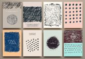 stock photo of creativity  - Set of Vintage Creative Cards with Hand Drawn Hipster Textures Made with Ink - JPG