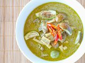 foto of curry chicken  - Herb and spicy food green chicken curry and vegetable - JPG