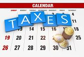 foto of income tax  - Income tax as a concept in the background calendar - JPG