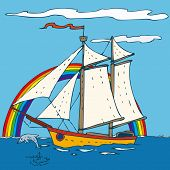 image of brigantine  - Sailing Ship with with blue sky and ocean - JPG