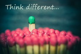 image of leadership  - One match standing out from the crowd leadership difference concept - JPG
