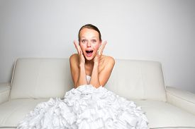 stock photo of cry  - Sad bride crying - JPG
