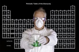 picture of chemical reaction  - Scientist holding a toxic chemical reaction in front of the periodic table of elements - JPG
