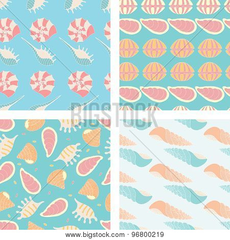 Four Vector Seamless Pattern Of Seashell.