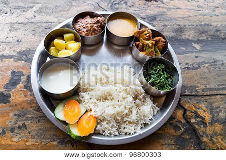 Sumptous Nepali Thali meal set with mutton