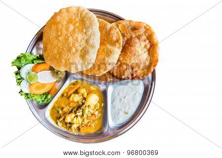 Delicious Nepali Puri meal set with dal and yogurt
