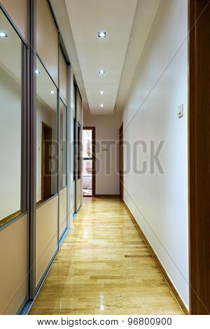 Indoor House Corridor With Closet With Sliding Doors